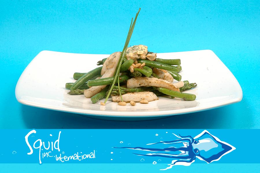 Squid Inc Int. 020-Calamari-Shredded-with-Green-Snake-Beans-Asparagus